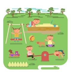children play on the outdoors vector image vector image