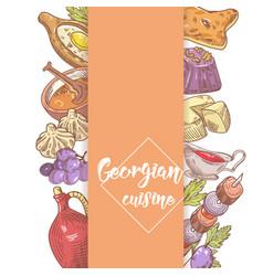 hand drawn georgian food menu design cuisine vector image vector image