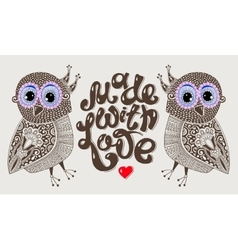 Made with love hand lettering inscription with two vector