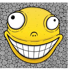 orange crazy smile vector image