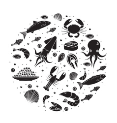Seafood icons set in round shape black silhouette vector image vector image