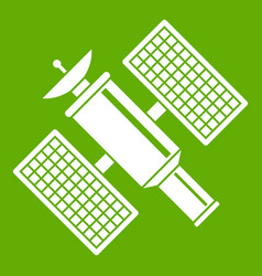 Space satellite icon green vector