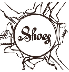Background with shoes Hand drawn vector image