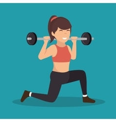 cartoon girl holding weight gym vector image