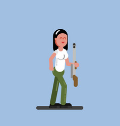 hunter girl with a gun vector image