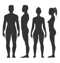 man and woman black silhouette vector image