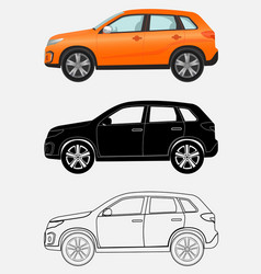 off-road luxury vehicle in three different styles vector image vector image