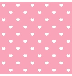 White polka dots hearts on pink background vector image