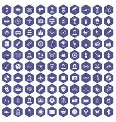 100 photo icons hexagon purple vector