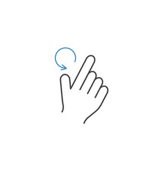 2 finger rotate left line icon hand gestures vector image