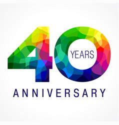 40 anniversary facet color logo vector