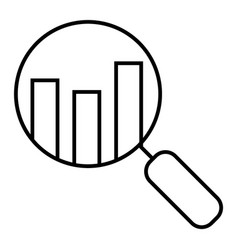 Analyze thin line icon lens with chart vector