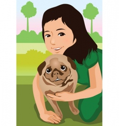 animal and owner vector image