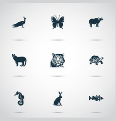 Animal icons set with ox hare cod fish and other vector