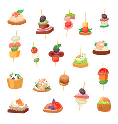 Appetizer appetizing food and snack meal vector