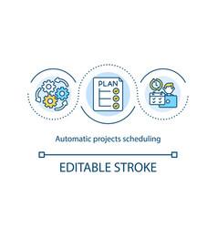 Automatic projects scheduling concept icon vector