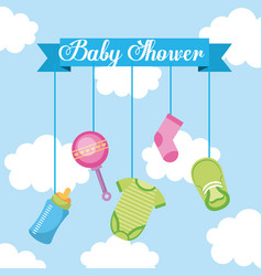 Baby shower lettering hanging elements decoration vector