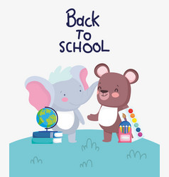 back to school bear and elephant with book and vector image