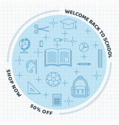 back to school line elements circle on grid paper vector image