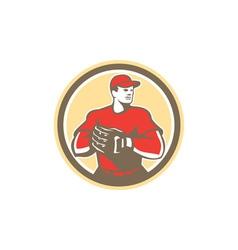 Baseball Catcher Gloves Circle Retro vector image