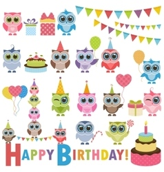 Birthday party set with owls vector image