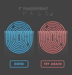 blue and red line fingerprint in black background vector image