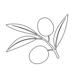 Branch of olives icon in outline style isolated on vector