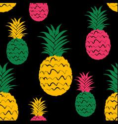 brush grunge pineapple fruits seamless pattern vector image