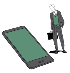 Businessman and smartphone vector