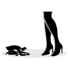 Businessman prostrated under female high heels vector