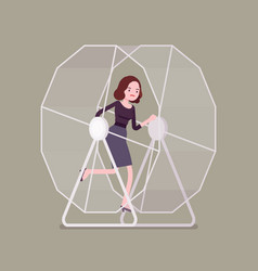 Businesswoman in a wheel vector
