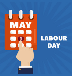 Calendar reminder with hand index labour day vector