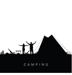 camping nature with couple silhouette in black vector image
