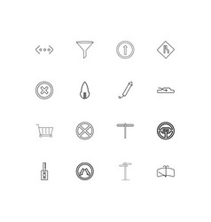 Cars and transportation simple linear icons set vector