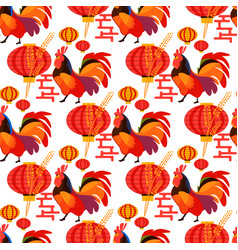 Chinese new year rooster on white background patte vector