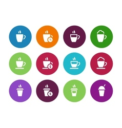 Coffee cup circle icons on white background vector image