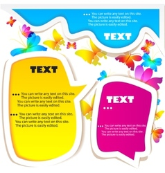 colorful bubble for speech butterflies background vector image vector image