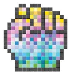 Colorful pixelated computer cursor vector