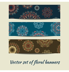 Colorful set of floral banners vector