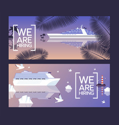 cruise ship job opening banner ocean trip summer vector image