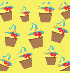 cup cake pattern on yellow background vector image