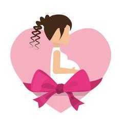 Cute mom pregnancy heart and ribbon vector