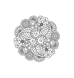 decorative black floral mandala patterned design vector image