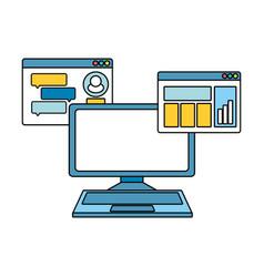 Desktop computer with webpage template vector