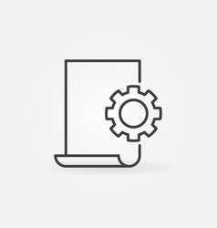 Document settings line icon - document with vector