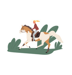 Equestrienne riding horse outdoors jockey ride vector