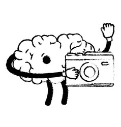 Figure kawaii happy brain with digital camera vector