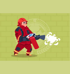 fireman hold extinguisher wearing uniform and vector image