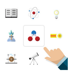 Flat icon science set of scope lightbulb vector