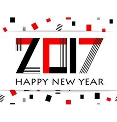 Geometric 2017 Happy New Year greeting card vector